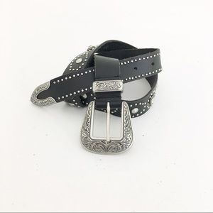 80s style belt grommets and crystals western funky